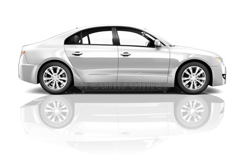 Bocznego widoku studio Strzelający Biały samochód obrazy royalty free