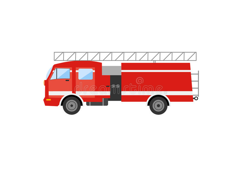 Boczny widok czerwony samochód strażacki Wektorowy ilustracyjny pożarniczy silnik royalty ilustracja