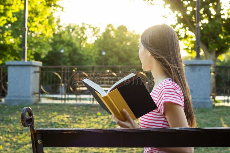Boczny widok czyta książkę w parku w lato słonecznym dniu oszałamiająco młoda dziewczyna zdjęcie stock