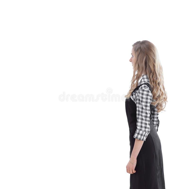 Boczny widok Długi portret młoda biznesowa kobieta fotografia stock