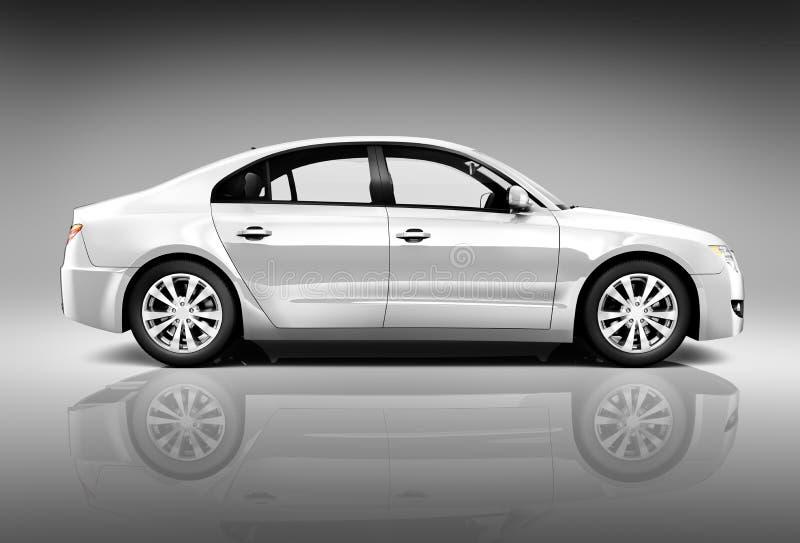 Boczny widok 3D sedanu samochód zdjęcia stock