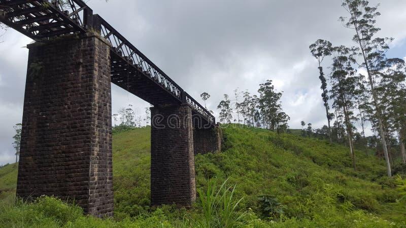 Boczny widok kolejowego śladu most obraz royalty free