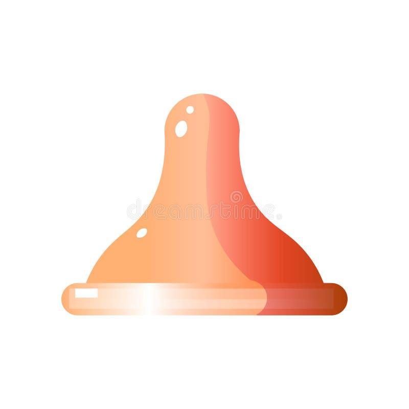 Boczny widok lateksowy kondom bez pakować ilustracja wektor