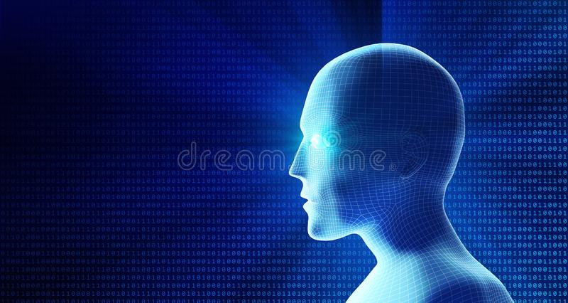 Boczny widok ludzka głowa i binarny kod Model odizolowywający na błękicie ilustracji