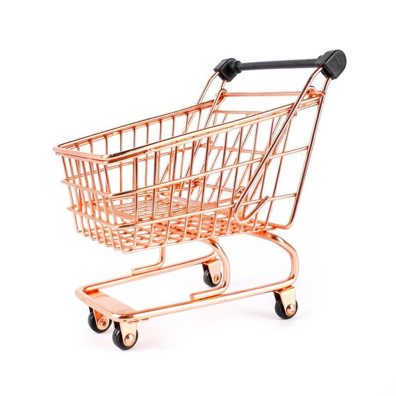 Boczny widok odizolowywający na białym tle, pojęcia biznesowy pieniężnym i zakupy wózek na zakupy, fotografia royalty free