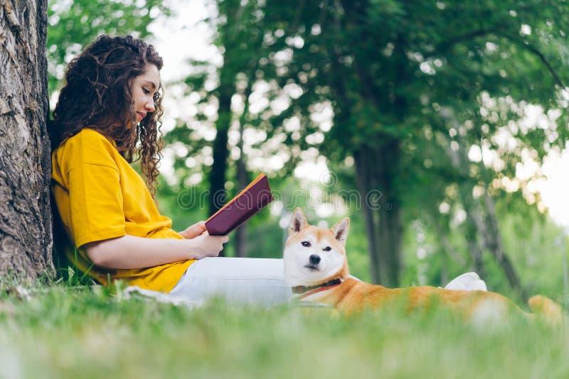 Boczny widok pięknej młodej kobiety czytelnicza książka w parku z shiba inu szczeniakiem zdjęcie royalty free