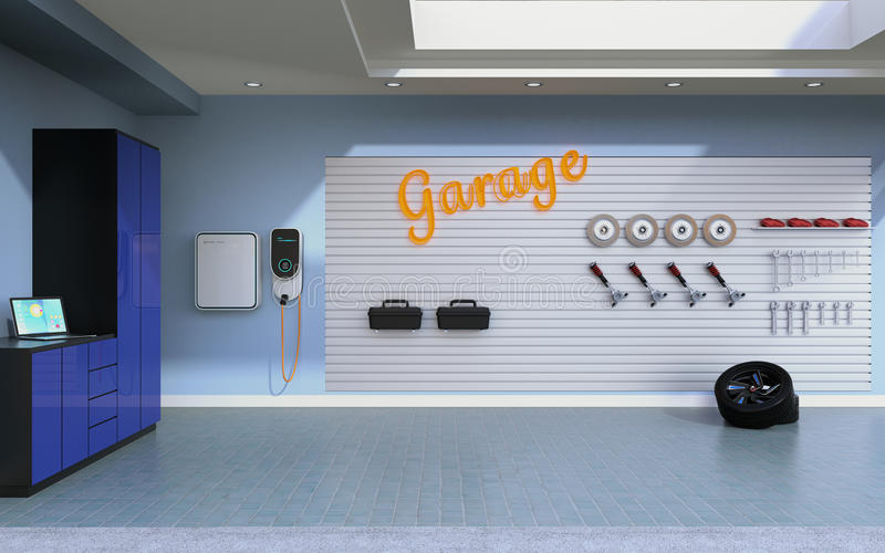 Boczny widok pusty mieszkaniowy garaż royalty ilustracja