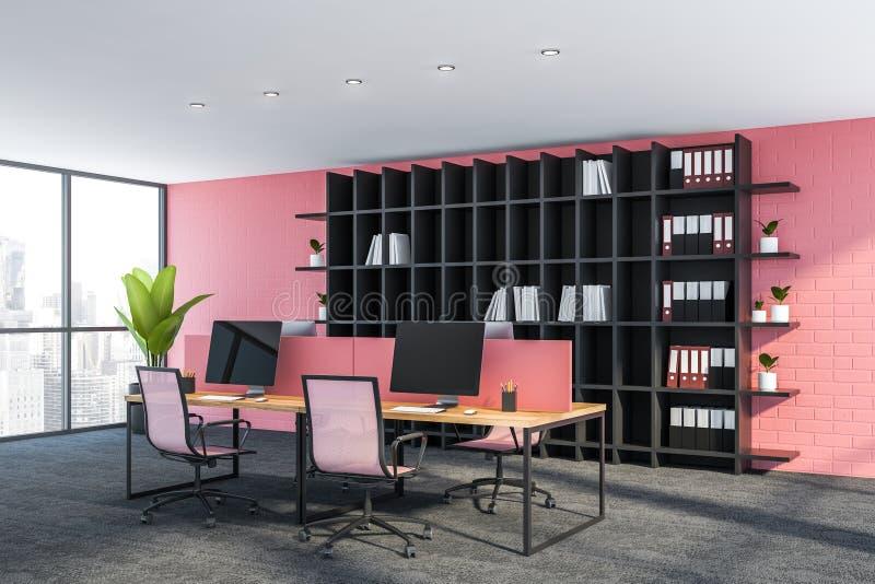 Boczny widok różowa biurowa miejsce pracy z bookcase ilustracja wektor