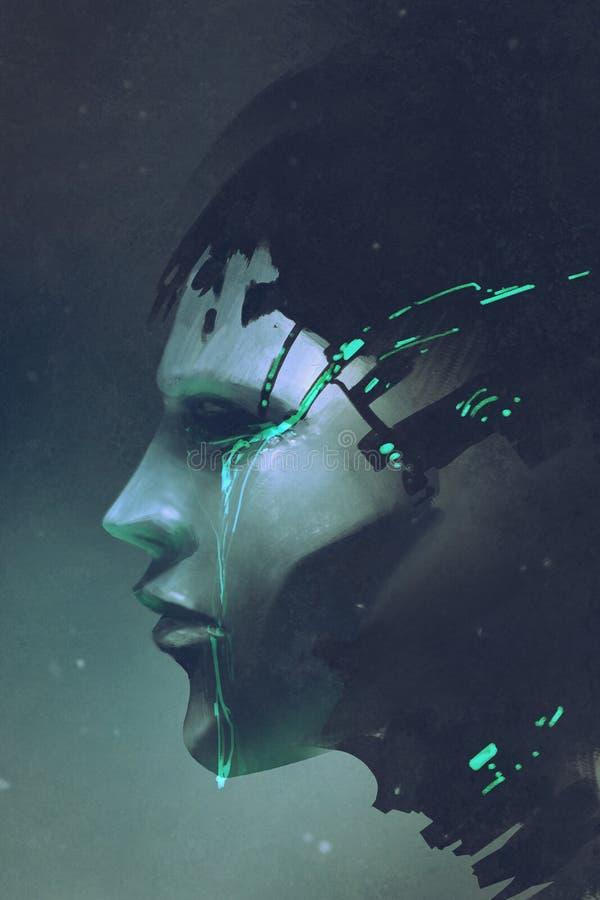 Boczny widok robota płacz ilustracji