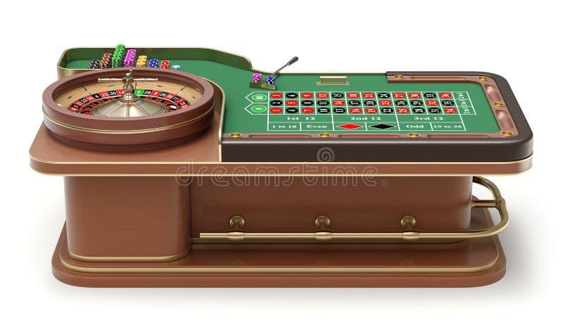 Boczny widok ruleta stół ilustracji