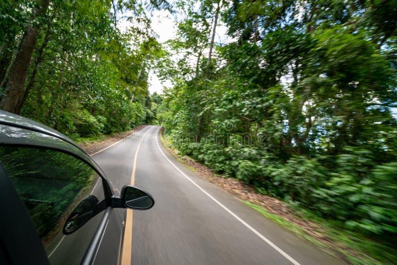 Boczny widok samochodowy jeżdżenie na drodze w lasowej autostradzie obrazy royalty free