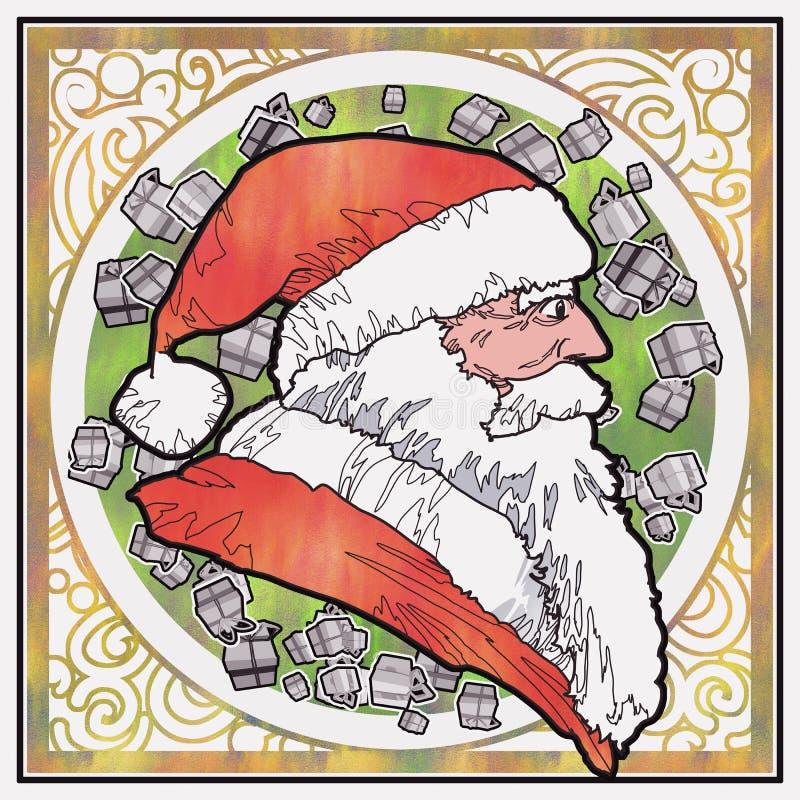 Boczny widok Santa Claus z grafika wzoru tłem ilustracji