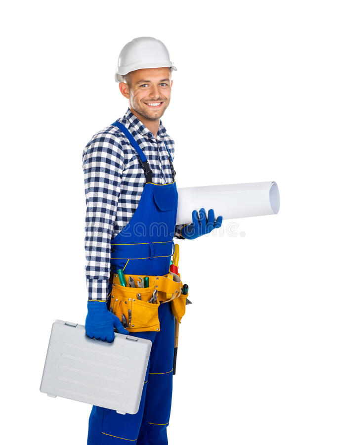Boczny widok szczęśliwy pracownik budowlany z toolbox i rysunkami zdjęcie royalty free