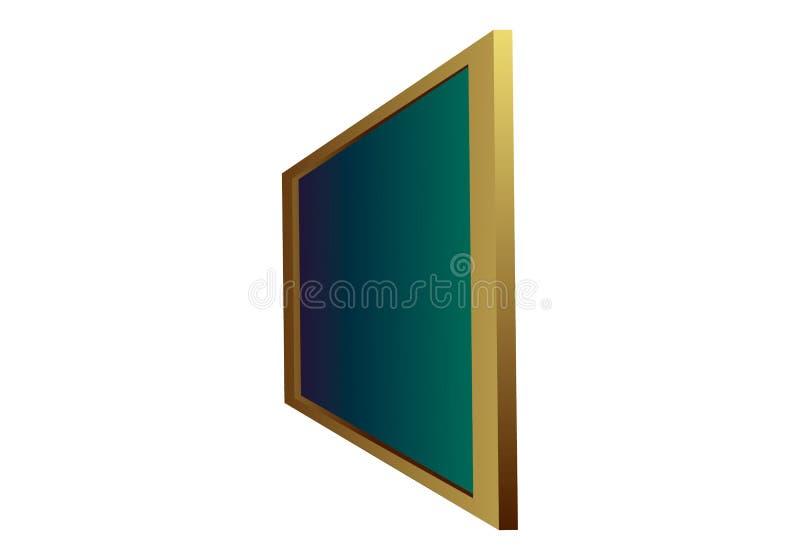 Boczny widok zielony czysty chalkboard w drewnianej ramie na białym tle odizolowywającym Szablonu czerni deski obwieszenie w pers ilustracja wektor