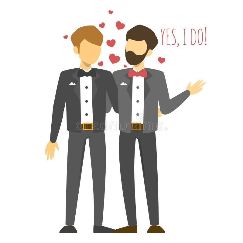 Boda alegre Pares homosexuales en el traje ilustración del vector