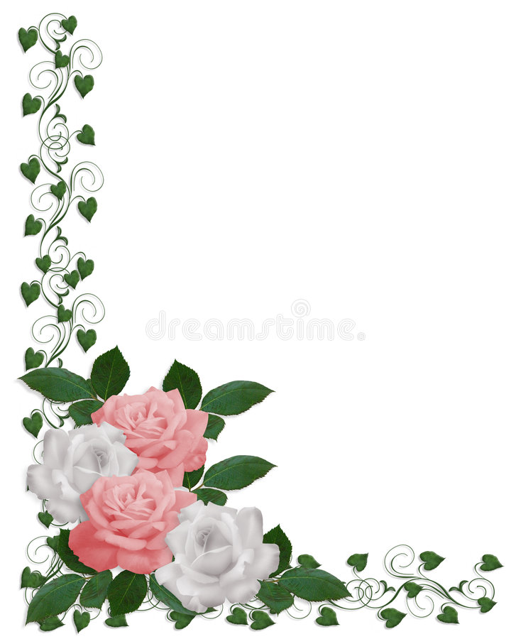 Boda blanca del color de rosa de la frontera de las rosas stock de ilustración