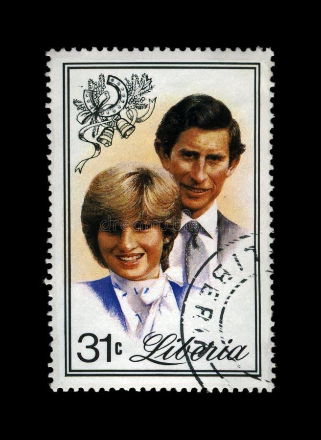 Boda de señora Diana Spencer y de príncipe Charles, circa 1982, fotografía de archivo