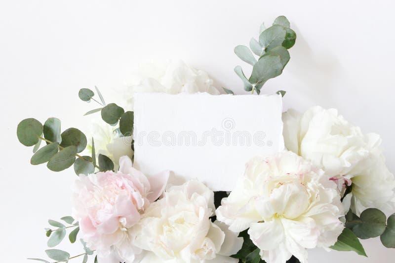 Boda femenina, escena de la maqueta del cumpleaños Primer de la tarjeta en blanco de papel de algodón, de la invitación y del ram imagenes de archivo