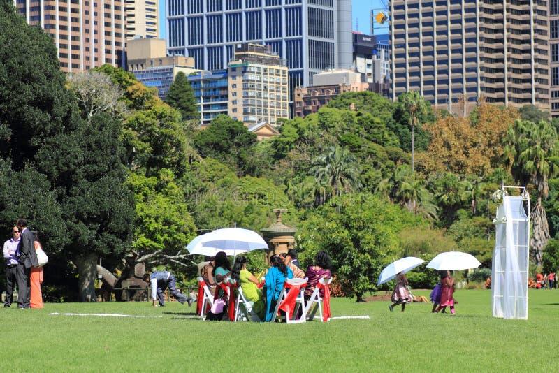 Boda india en los jardines botánicos Sydney fotos de archivo