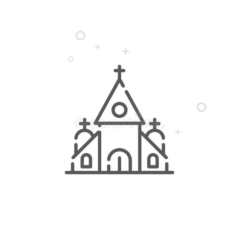 Boda, línea icono, símbolo, pictograma, muestra del vector de la iglesia Fondo geométrico abstracto ligero Movimiento Editable ilustración del vector