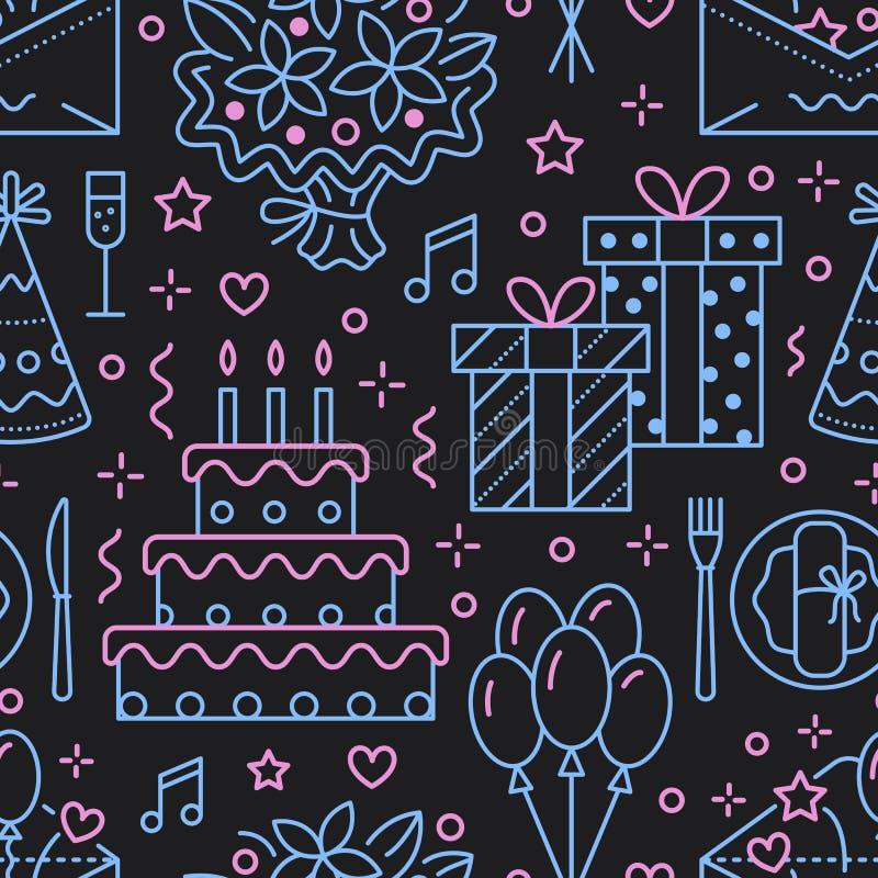 Boda, modelo inconsútil de la fiesta de cumpleaños, línea ejemplo plana Vector los iconos de la agencia del evento, organización  stock de ilustración