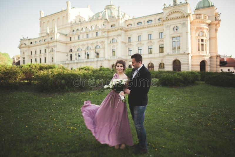 boda Pareja kraków La novia en un vestido y un novio rosados que presentan en el fondo del teatro fotos de archivo libres de regalías