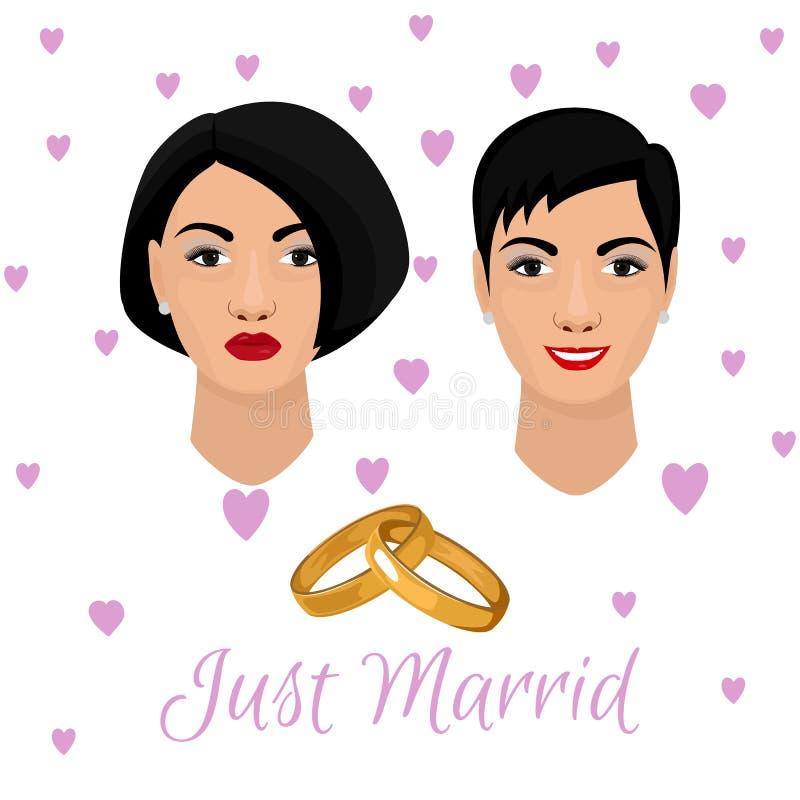 Boda rara J?ntese de novias lesbianas nuevamente casadas Cabezas hermosas de la novia adornadas con los corazones y los pares ros libre illustration