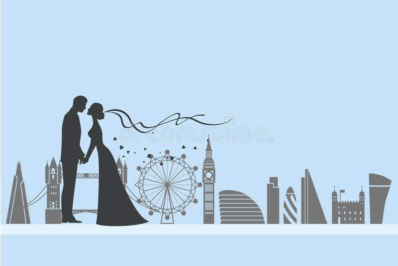Boda y amor de Londres stock de ilustración