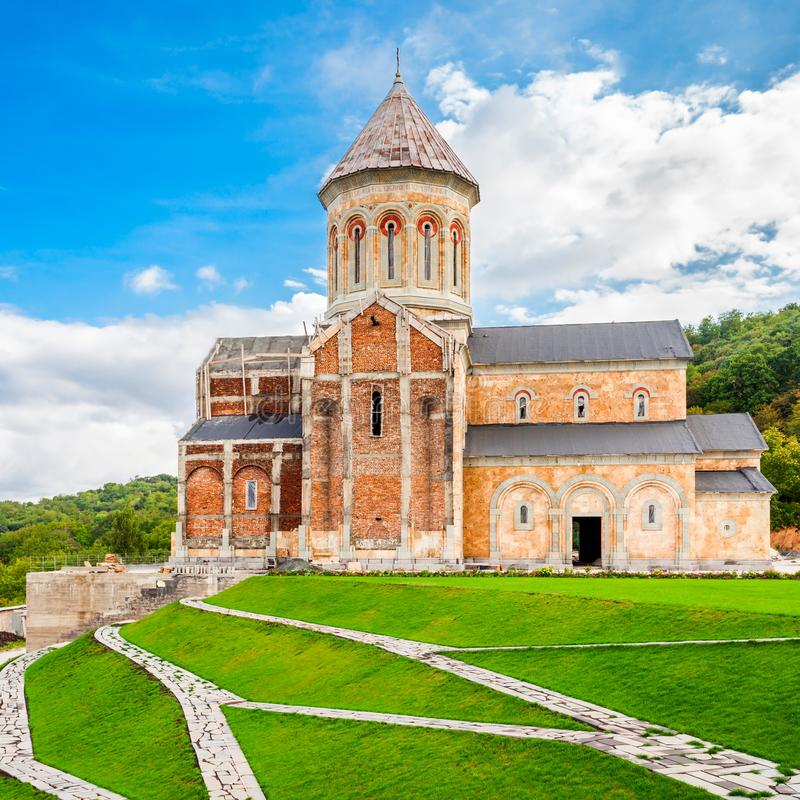 Bodbe Monastery, Sighnaghi. Bodbe Monastery (Monastery of St. Nino) at Bodbe is a Georgian Orthodox monastic complex and the seat of the Bishops of Bodbe near stock photo