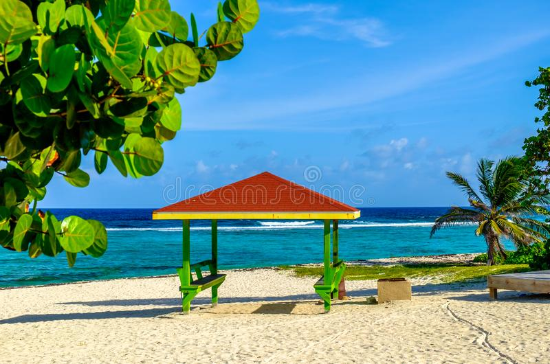 Bodden Town-Hut. Colorful hut on one of Bodden Town's beaches in the Caribbean, Grand Cayman, Cayman Islands royalty free stock image