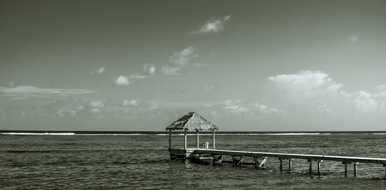 Bodden Town-Pier. Pier on the Caribbean Sea in the Bodden Town area, Grand Cayman, Cayman Islands stock image