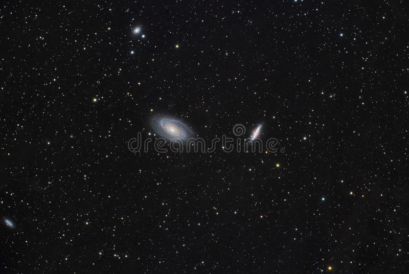 Bode`s Galaxy M81 and M82 stock image