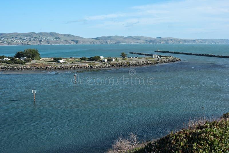Bodega Bay jetties. Recreational vehicle park and jetties, Bodega Bay, California royalty free stock photo