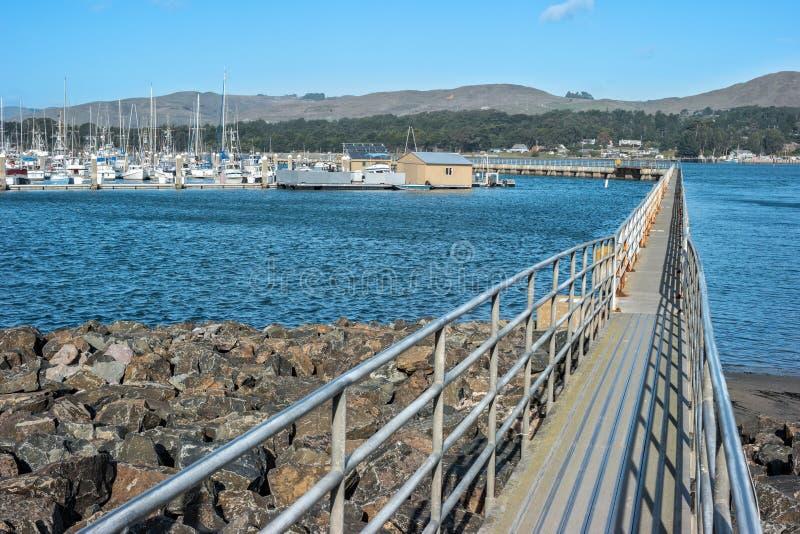Bodega Bay marina. Long dock to the marina, Bodega Bay, California stock photos