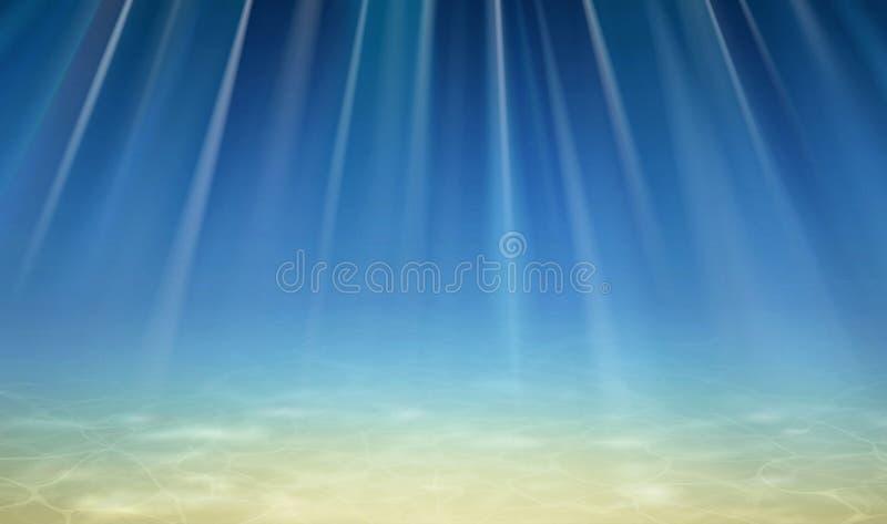 Bodem van de oceaan De zomer Textuur van waterspiegel In de stroom Golvengevolgen Blauwe Onderwereld duik stock illustratie