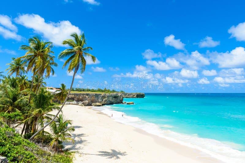 Bodembaai, Barbados - Paradijsstrand op het Cara?bische Eiland Barbados Tropische kust met palmen die over turkooise overzees han royalty-vrije stock afbeelding