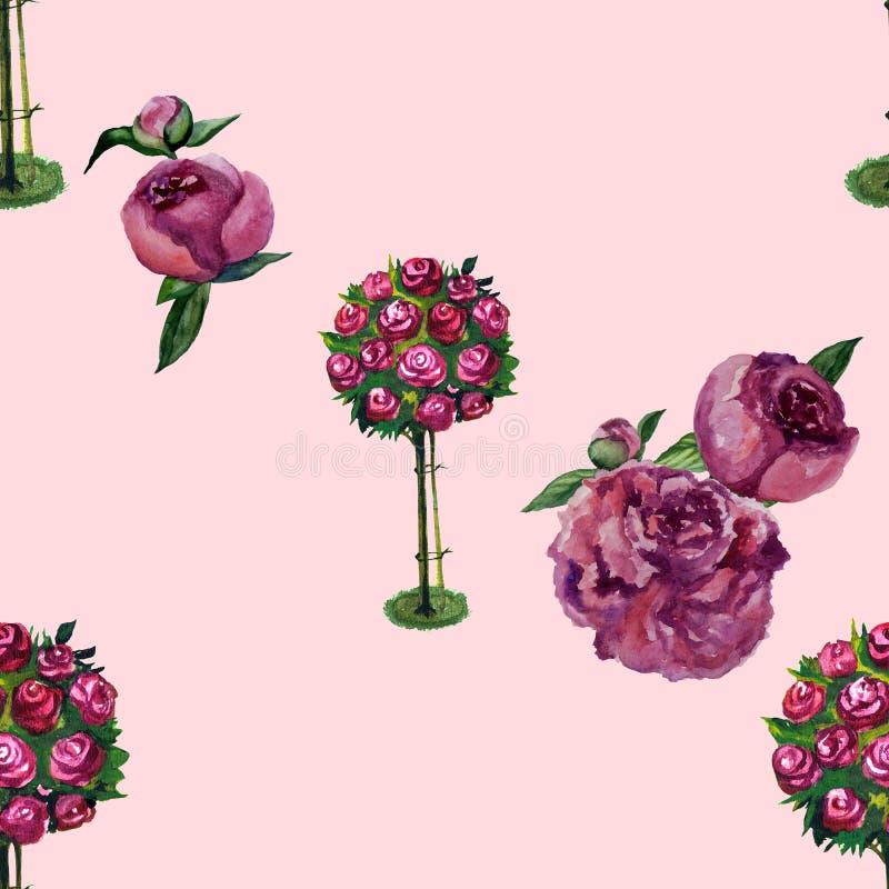 Bodembloemen van rozentuinen. Afbeelding van waterkleurflorale illustratie. Naadloos achtergrondpatroon. Structuur voor afdruk van vector illustratie