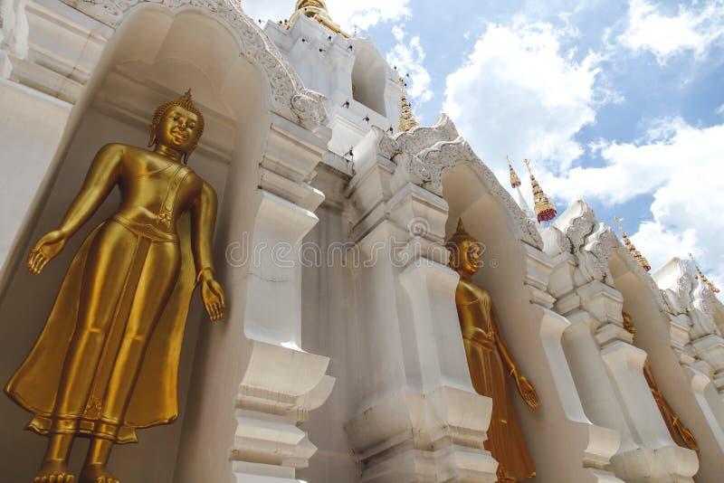 bodemmening van de mooie gouden standbeelden van Boedha royalty-vrije stock foto's