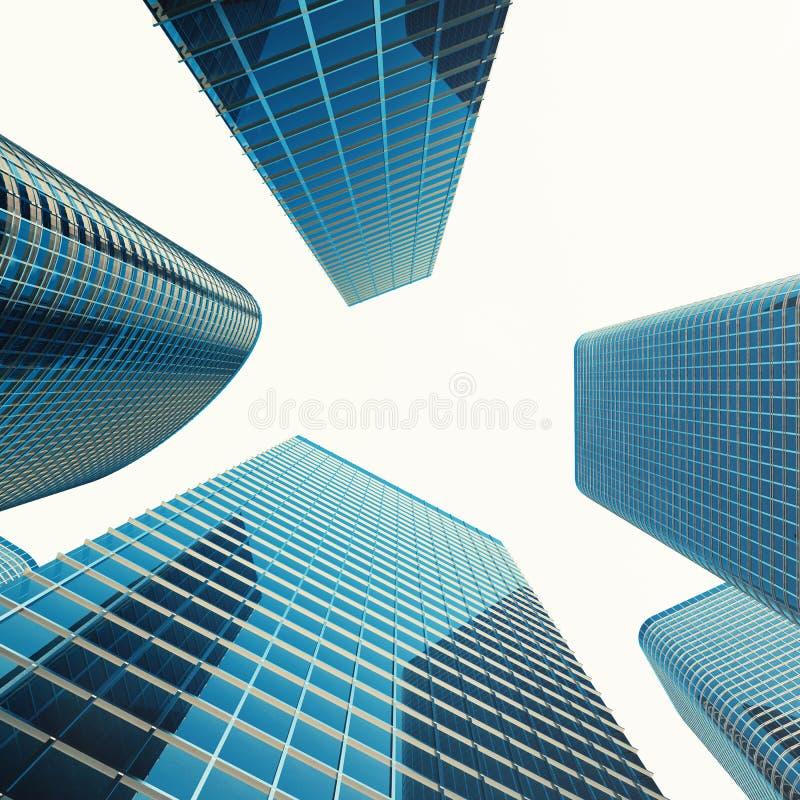 Bodemmening van moderne wolkenkrabbers in bedrijfsdistrict Industriële architectuur, bedrijfsbouw en landgoed vector illustratie