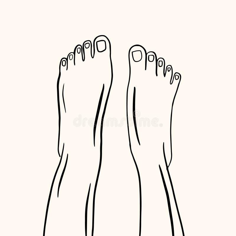 Bodemvoeten Vectorlineaire illustratie Freehand-tekening royalty-vrije illustratie