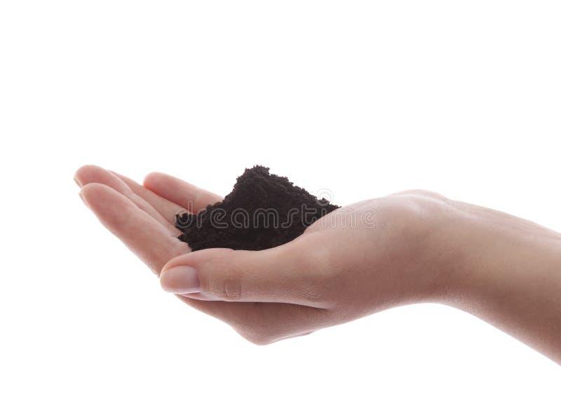 Boden in der Hand stockfotos