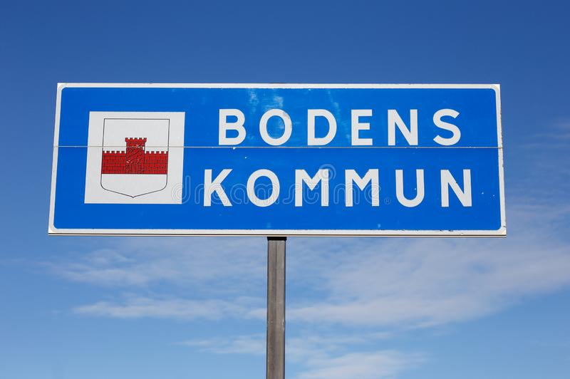 Boden municipality. Boden, Sweden - August 21, 2019: The Boden municipality border road sign royalty free stock images