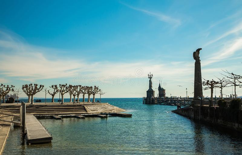 Boden See und die Statue des Reiches stockbilder