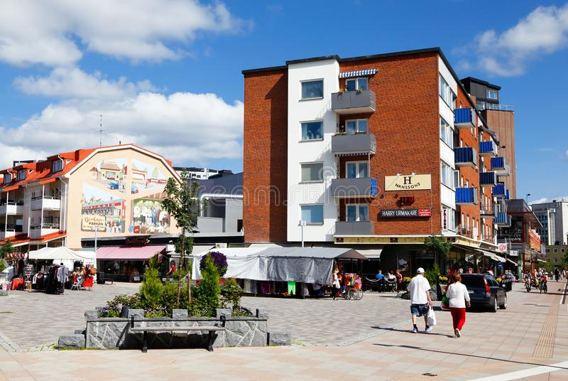 Boden city center. Boden, Sweden - July 13, 2015: View of square in the downtown district of Boden during the summer stock photo