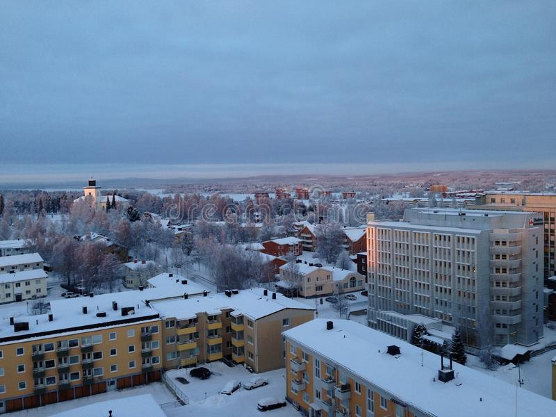 Boden town. In the north of Sweden, beautiful view in winter royalty free stock image