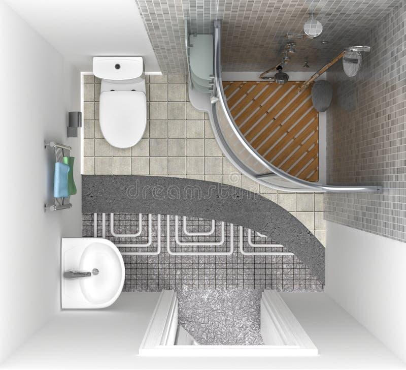 BodenHeizsystem im Badezimmer, Draufsicht stock abbildung