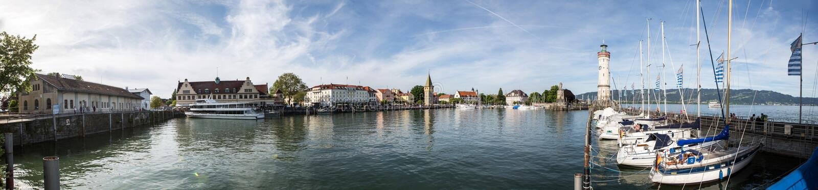 Bodensee Lindau, panorama Portowy Hafen obrazy royalty free