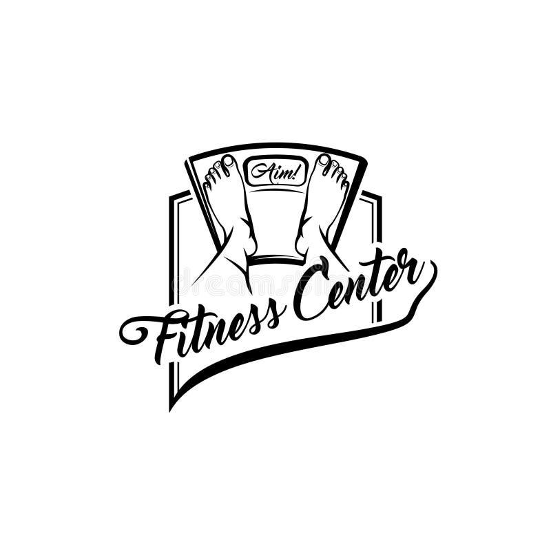 Bodenskala füße Eignungsmitte-Logoaufkleber-Emblemdesign Gewichtverlust Frauentorso mit dem Maß, getrennt auf Weiß Waageikone Vek stock abbildung