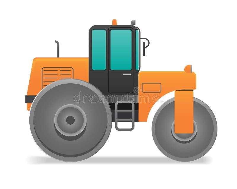 Bodenverdichterbau auf dem wei?en Hintergrund stock abbildung