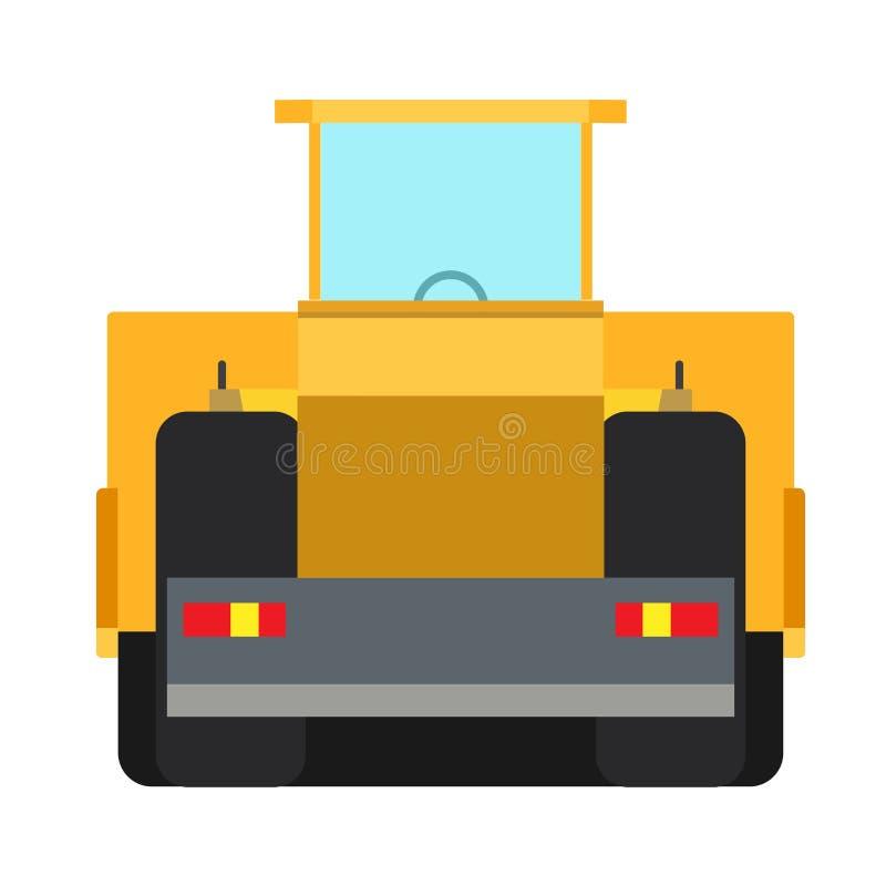 BodenverdichterBaugerät-Vektorikonen-Maschinenasphalt Hintere Ansicht des gelben Plattformwagens der Schwerindustrielandstraßenre vektor abbildung